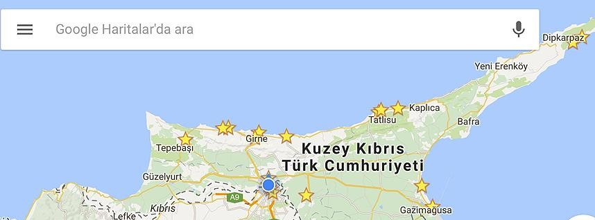 TRNC on Google Mobile Map Turkish Republic of Northern Cyprus