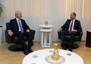 Minister Kudret Özersay received Republican People's Party Leader Kılıçdaroğlu (7 December 2018)